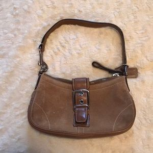 Coach Tan Suede and Leather Mini Bag